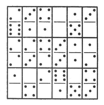 рис. 7. квадрат из 18 косточек домино, замечательный тем, что сумма очков любого его ряда - продольного, поперечного или диагонального - одна и та же: 13