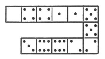 рис. 8. шесть косточек домино, выложенных по правилам игры и отличающихся тем, что число очков на косточках (на двух половинах каждой косточки) возрастает на 1