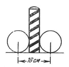 рис. 22. ширина же мишени при нацеливании в столбик равна сумме диаметра шара и столбика, т. е. 16 см