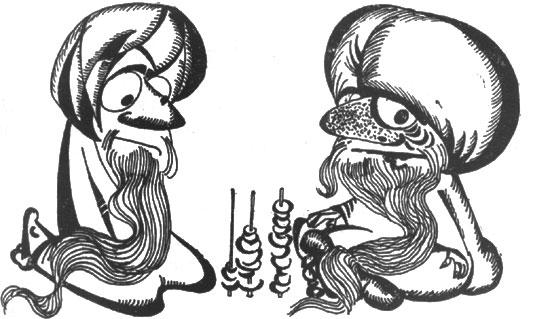 рис. 57. 'жрецы обязаны без устали перекладывать кружки'