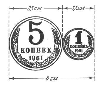 рис. 63. пятак и копейка, положенные рядом, составляют 4 см