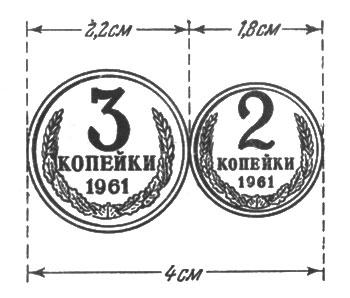 рис. 64. трехкопеечная и двухкопеечная монеты, положенные рядом, составляют 4 см