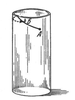 рис. 84. найдя кратчайший путь на развернутом прямоугольнике, свернем его снова в цилиндр и узнаем, как должна бежать муха, чтобы скорее добраться до капли меда