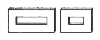 рис. 89. отсутствие подобия становится очевидным для прямоугольных рамок с широкими планками
