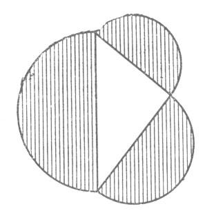 рис. 105. сумма площадей полукругов, построенных на катетах, равна полукругу, построенному на гипотенузе