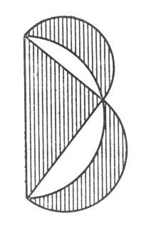 рис. 106. перекинув большой полукруг на другую сторону, видим, что обе заштрихованные луночки вместе равновелики треугольнику