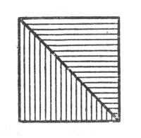 рис. 108. равнобедренный прямоугольный треугольник превращается в равновеликий квадрат